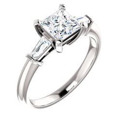 Natural 1.32 CTW Princess Cut & Baguettes 3-Stone Diamond Ring 18KT White Gold