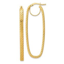 14k Yellow Gold Cascade Rectangular Hoop Earrings - 2x17 mm