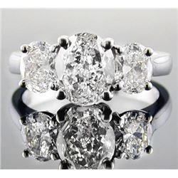 Natural 2.02 CTW 3-Stone Oval Cut Diamond Engagement Ring 14KT White Gold