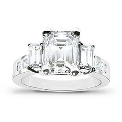 Natural 2.12 CTW Emerald Cut & Baguette Cut Sides Diamond Ring 14KT White Gold