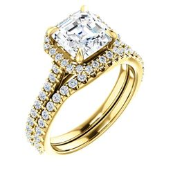 Natural 2.22 CTW Halo Asscher Cut Diamond Engagement Set 14KT Yellow Gold