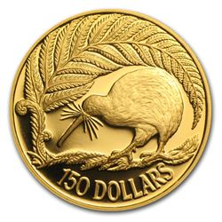 1990 New Zealand 1/2 oz Proof Gold $150 Kiwi