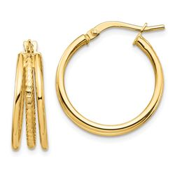 14k Yellow Gold Polished & Textured 3 Hoop Earrings - 21 mm