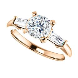 Natural 1.52 CTW Cushion Cut 3-Stone Diamond Ring 14KT Rose Gold