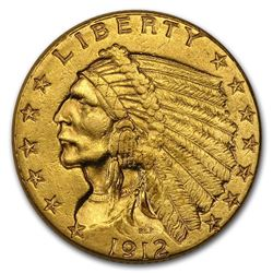 1912 $2.50 Indian Gold Quarter Eagle AU