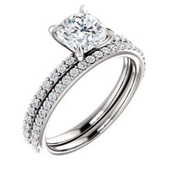 Natural 2.32 CTW Cushion Cut Diamond Engagement Set 18KT White Gold
