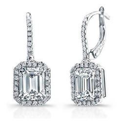 Natural 2.52 CTW Emerald Cut U-Pave Lever Back Halo Diamond Earrings 18KT White Gold