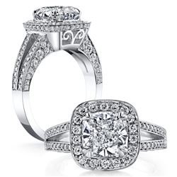 Natural 2.62 CTW Halo Cushion Cut Split Shank Diamond Engagement Ring 18KT White Gold