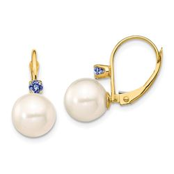 14k Yellow Au White Pearl Tanzanite Leverback Earrings - 8-8.5 mm