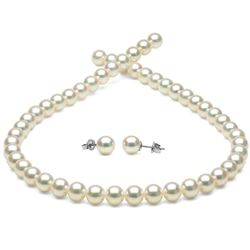 White Hanadama Japanese Akoya Pearl Jewelry Set, 7.0-7.5mm