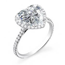 Natural 1.72 CTW Halo Heart Brilliant Cut Forever Diamond Engagement Ring 18KT White Gold