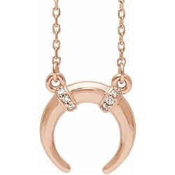 Natural 0.04 CTW Crescent Moon Diamond Necklace 14KT Rose Gold