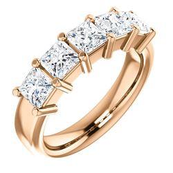 Natural 2.52 CTW Princess Cut 5-Stone Diamond Ring 18KT Rose Gold