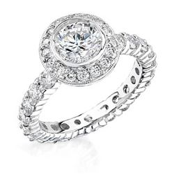 Natural 3.21 CTW Round Cut Diamond Engagement Ring 14KT White Gold