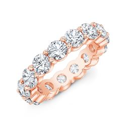 Natural 6.02 CTW Round Diamond Eternity Band Wedding Ring 18KT Rose Gold