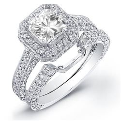 Natural 2.42 CTW Halo Square Radiant Cut Diamond Ring 18KT White Gold