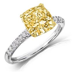Natural 1.47 CTW Canary Yellow Cushion Cut Solitaire Diamond Ring 14KT Two-tone