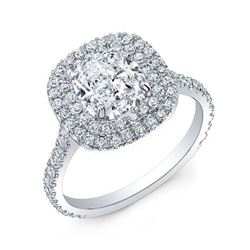 Natural 2.37 CTW Cushion Cut Double Halo Diamond Engagement Ring 18KT White Gold