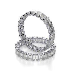 Natural 3.02 CTW U-Setting Emerald Cut Diamond Eternity Ring 18KT White Gold