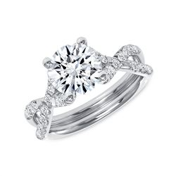 Natural 1.92 CTW Round Brilliant Cut Infinity Shank Diamond Engagement Ring 14KT White Gold