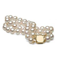 Double Strand White Akoya Pearl Bracelet, 6.5-7.0mm