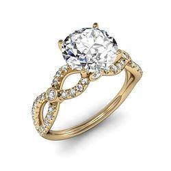 Natural 1.62 CTW Round Brilliant Cut Twist Shank Diamond Ring 14KT Yellow Gold