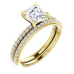 Natural 1.92 CTW Square Asscher Cut Diamond Engagement Set 14KT Yellow Gold