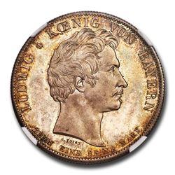 1835 German States Bavaria Silver Thaler Ludwig I MS-64 NGC