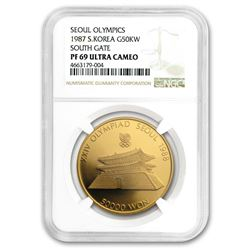 1987 South Korea 1 oz Gold 50,000 Won Olympics PF-69 NGC