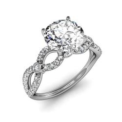 Natural 2.12 CTW Round Brilliant Cut Twist Shank Diamond Ring 18KT White Gold