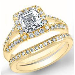 Natural 2.22 CTW Halo Asscher Cut Diamond Split Shank Engagement Ring 14KT Yellow Gold
