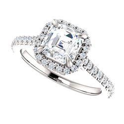 Natural 1.67 CTW Halo Asscher Cut Diamond Engagement Ring 18KT White Gold
