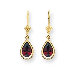 14k 9x6 mm Pear Garnet Leverback Earrings