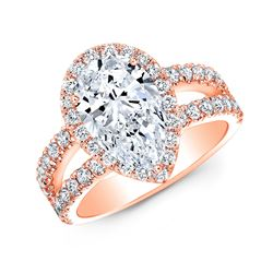 Natural 2.07 CTW Halo Pear Cut Tear Drop Split Shank Diamond Ring 18KT Rose Gold