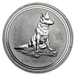 2006 Australia 1 oz Silver Dog BU (Series I, Abrasions)