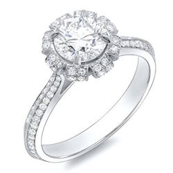 Natural 1.32 CTW Crown Halo Round Cut Diamond Engagement Ring 14KT White Gold