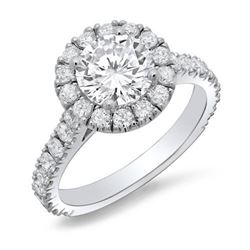 Natural 1.92 CTW Halo Round Cut U-Setting Diamond Engagement Ring 18KT White Gold