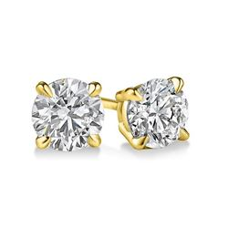 Natural 1.02 CTW Round Brilliant Cut Diamond Stud Earrings 14KT Yellow Gold