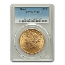 1906-S $20 Liberty Gold Double Eagle MS-61 PCGS