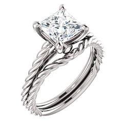 Natural 1.12 CTW Princess cut Rope Design Diamond Engagement Set 14KT White Gold