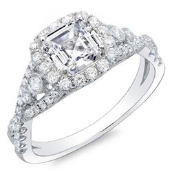 Natural 2.12 CTW Asscher Cut Cross Over Diamond Engagement Ring 18KT White Gold