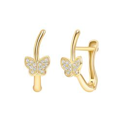 Natural 0.17 CTW Butterfly Diamond Earrings 18KT Yellow Gold