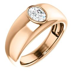Natural 1.02 CTW Men's Oval Cut Diamond Solitaire Ring 18KT Rose Gold