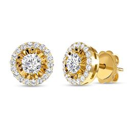 Natural 0.92 CTW Halo Diamond Earrings 14KT Yellow Gold