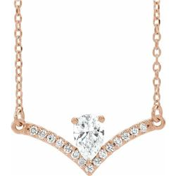 Natural 0.4 CTW Pear Diamond Chandelier Necklace 18KT Rose Gold