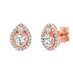 Natural 1.12 CTW Diamond Tear Drop Earrings 18KT Rose Gold