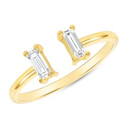 Natural 0.27 CTW Stackable Baguette Diamond Cuff Ring 14KT Yellow Gold