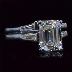 Natural 2.54 CTW 3-stone Emerald & Baguette Cut Diamond Engagement Ring 18KT White Gold