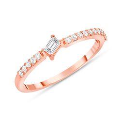 Natural 0.22 CTW Tilted Baguette Diamond Ring 14KT Rose Gold