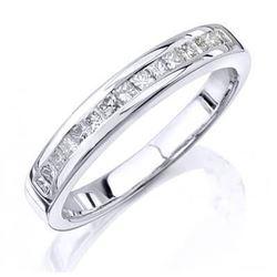 Natural 1.02 CTW Princess Cut Diamond Wedding Ring 14KT White Gold